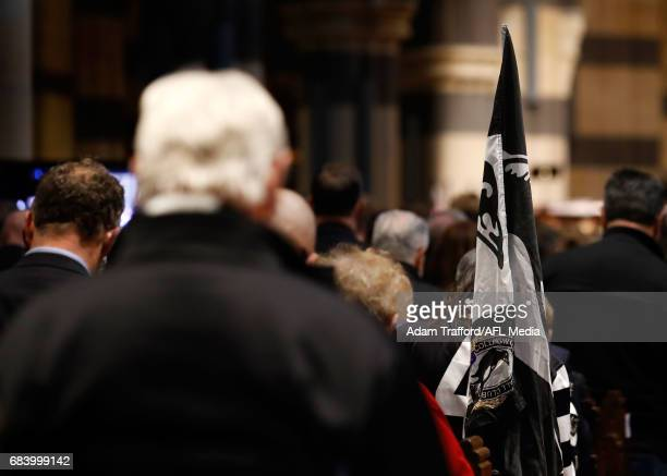 Magpies flag is seen during the former Collingwood legend Lou Richards state funeral at St Paul's Cathedral on May 17 2017 in Melbourne Australia