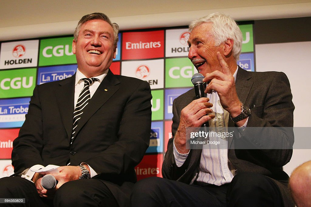 Magpies President Eddie Maguire and former head coach Mick Malthouse pay tribute to retiring Dane Swan during a Collingwood Magpies AFL media session at the Holden Centre on August 23, 2016 in Melbourne, Australia.