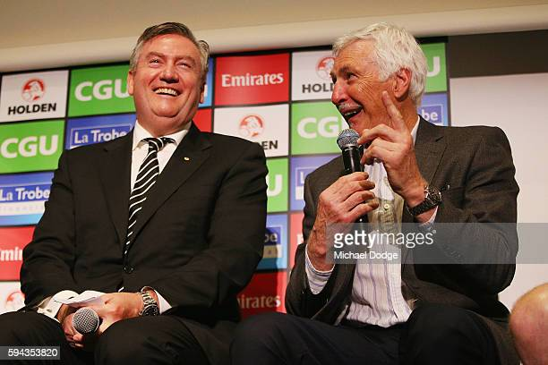 Magpies President Eddie Maguire and former head coach Mick Malthouse pay tribute to retiring Dane Swan during a Collingwood Magpies AFL media session...