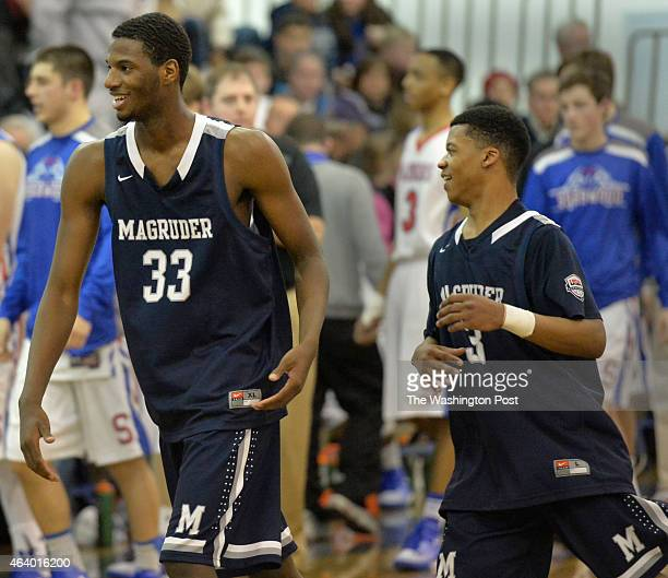Magruder's Joe Hugley and David Garey were all smiles after the close game with Sherwood ended on February 20 2015 in Olney Md