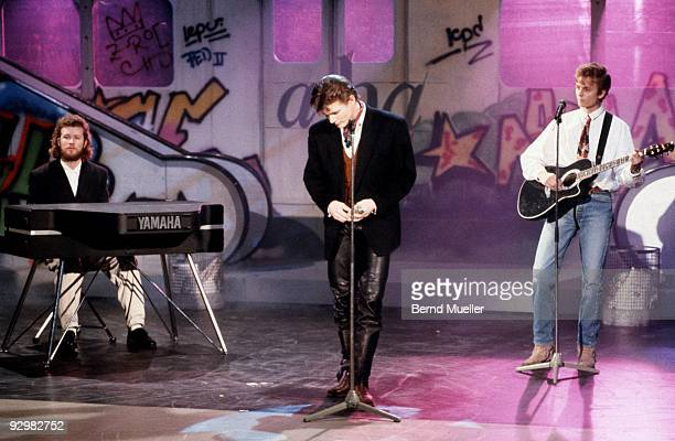 Mags Furuholmen Morten Harket and Pal Waaktaar of Aha perform on German TV show c 1989 Furuholmen plays a Yamaha CP70 keybaord