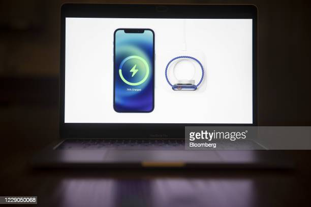 MagSafe wireless charging for the Apple iPhone 12 is unveiled during a virtual product launch seen on a laptop computer in Tiskilwa, Illinois, U.S.,...