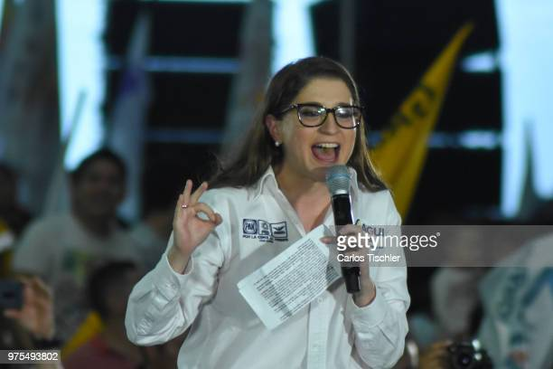 Magui Fisher candidate for Coalition for Mexico to the Front talks during a Civic Gathering as part of Ricardo Anaya's election campaign at Deportivo...
