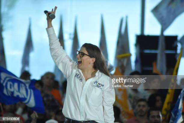 Magui Fisher candidate for Coalition for Mexico to the Front waves to supporters during a Civic Gathering as part of Ricardo Anaya's election...