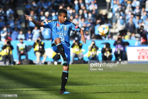 Maguinho of Kawasaki Frontale in action during the JLeague J1 match between Kawasaki Frontale and FC Tokyo at Todoroki Stadium on February 23 2019 in...