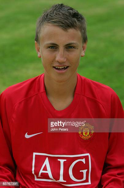 Magus Eikrem of Manchester United poses during a photocall at Carrington Training Ground on July 12 2007 in Manchester England