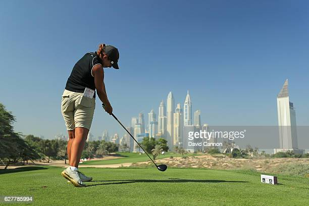 Maha Haddioui of Morocco in action during her practice round as a preview for the 2016 Omega Dubai Ladies Masters on the Majlis Course at the...