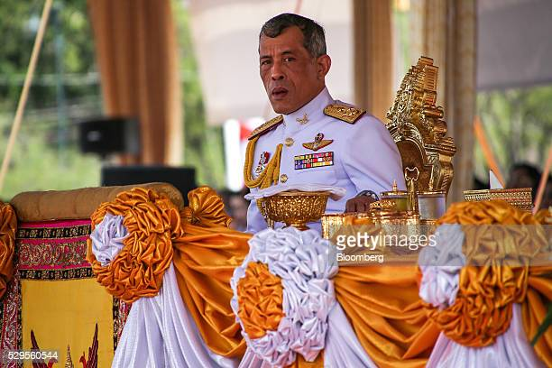 Maha Vajiralongkorn crown prince of Thailand attends the Royal Ploughing ceremony at Sanam Luang park in Bangkok Thailand on Monday May 9 2016 This...