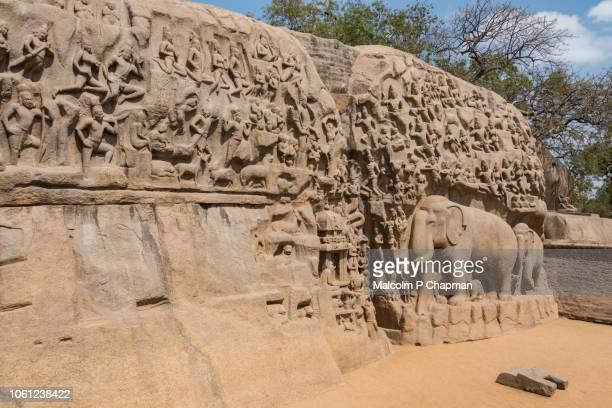 Mahabalipuram - Arjuna's Penance, Bas-relief carving, Mamallapuram, Tamil Nadu, India