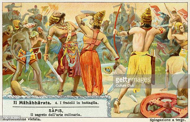 Mahabharata Sanskrit epic poem Kurukshetra war Liebig collectors' card 1931