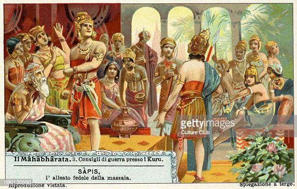 Mahabharata Sanskrit epic poem War council at Kuru Liebig collectors' card 1931