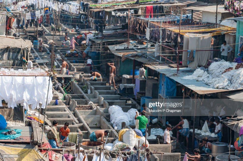 Mahalaxmi Dhobi Ghat, Mumbai, India - World's largest outdoor laundry. : ストックフォト