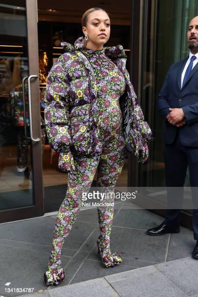 Mahalia attends Richard Quinn at The Londoner Hotel during London Fashion Week September 2021 on September 21, 2021 in London, England.