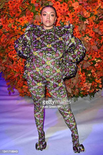 Mahalia attends the Richard Quinn show during London Fashion Week September 2021 on September 21, 2021 in London, England.
