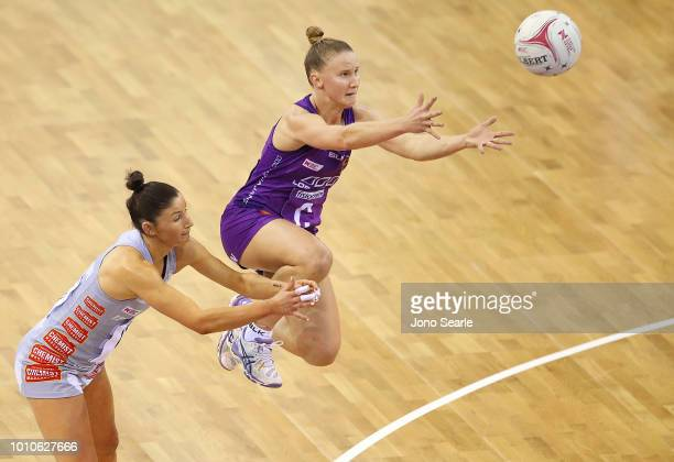 Mahalia Cassidy of the Firebirds intercepts the ball from Kim Ravaillion of the Magpies during the round 14 Super Netball match between the Firebirds...