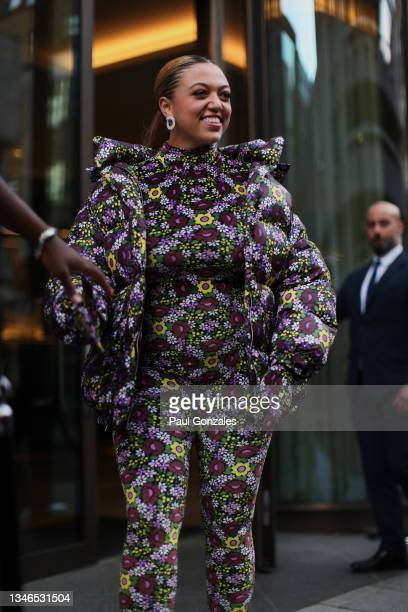 Mahalia is seen wearing a Floral Ensemble at Richard Quinn during London Fashion Week September 2021 on September 21, 2021 in London, England.