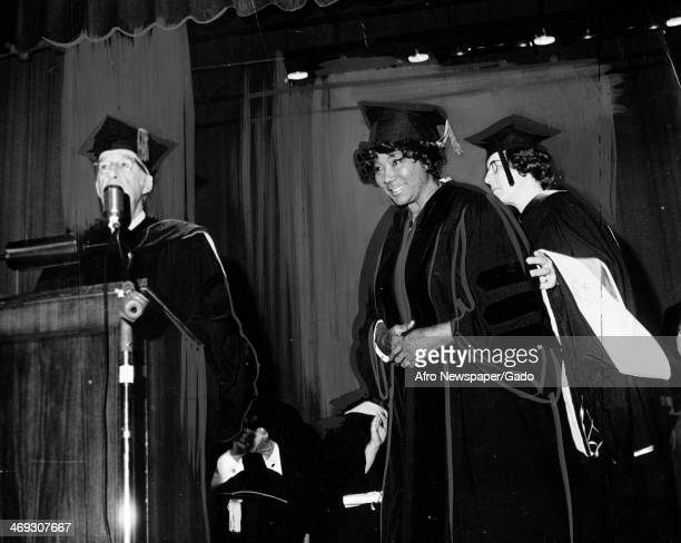 Mahalia Jackson Gospel singer receives an Honorary degree as Doctor of Music from Marymount College Tarrytown New York May 11 1971