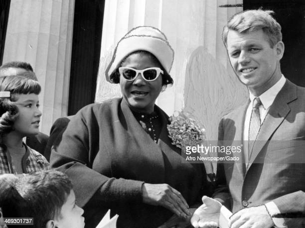 Mahalia Jackson Gospel singer with Attorney General Robert Kennedy 1961