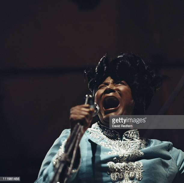 Mahalia Jackson US singer and civil rights activist in concert at the Newport Jazz Festival an annual music festival held in Newport Rhode Island USA...