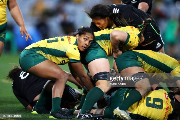 Mahalia Murphy of the Wallaroos looks to pass during the Women's Rugby International match between the Australian Wallaroos and New Zealand Black...