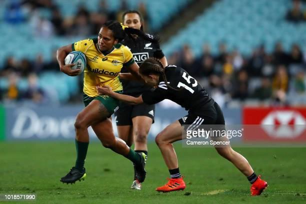 Mahalia Murphy of the Wallaroos makes a break during the Women's Rugby International match between the Australian Wallaroos and New Zealand Black...