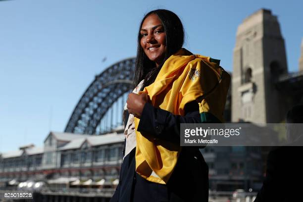 Mahalia Murphy poses during the Australian Wallaroos team farewell at View By Sydney on August 1 2017 in Sydney Australia The Wallaroos leave to...