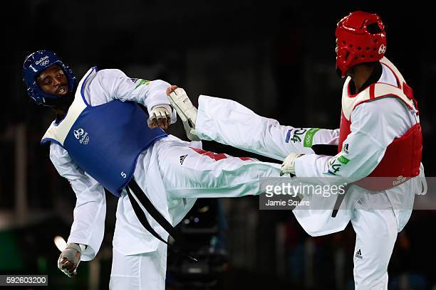 Mahama Cho of Great Britain competes against Maicon Siqueira of Brazil during the Men's 80kg Bronze Medal contest on Day 15 of the Rio 2016 Olympic...