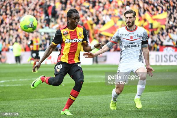 Mahamadou Habibou of Lens and Baptiste Aloe during the French Ligue 2 match between Lens and Valenciennes at Stade BollaertDelelis on February 25...