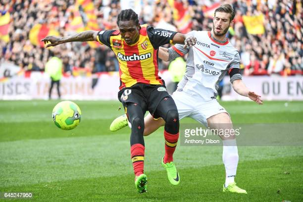 Mahamadou Habibou of Lens and Baptiste Aloe of Valenciennes during the French Ligue 2 match between Lens and Valenciennes at Stade BollaertDelelis on...