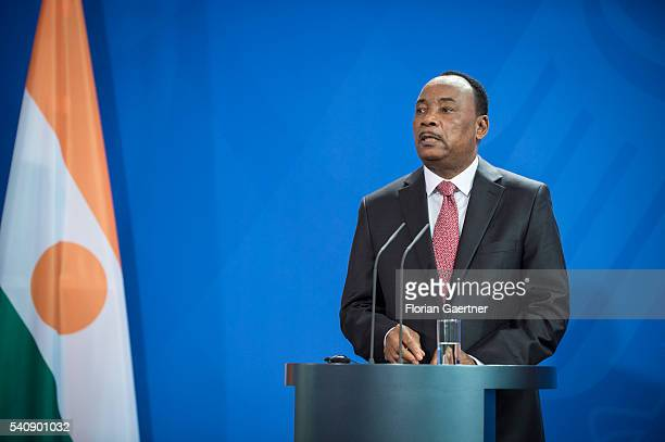 Mahamadou Issoufou, President of Niger, speaks during a press conference with German Chancellor Angela Merkel on June 17, 2016 in Berlin, Germany....