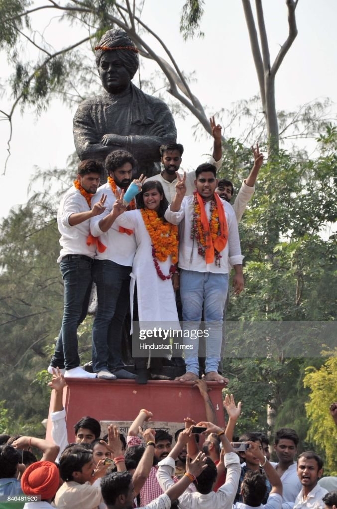 Mahamedha, ABVP candidates for secretary, and Uma Shankar, Joint Secretary (R), celebrate after the result during the DUSU Election result at Arts Faculty in North Campus, Delhi University, on September 13, 2017 in New Delhi, India. Congress-backed National Students Union of India (NSUI) staged a comeback on the DU campus by bagging two posts - President and Vice-president - in Delhi University Students Union (DUSU) polls. The RSS-backed Akhil Bharatiya Vidyarthi Parishad (ABVP) which had won three seats last year, including that of the president, could only win posts of secretary and joint secretary.