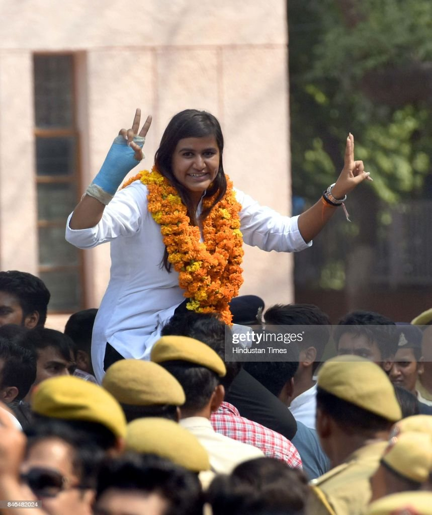 Mahamedha, ABVP candidates for secretary, celebrates after her win during the DUSU Election result at Arts Faculty in North Campus, Delhi University, on September 13, 2017 in New Delhi, India. Congress-backed National Students Union of India (NSUI) staged a comeback on the DU campus by bagging two posts - President and Vice-president - in Delhi University Students Union (DUSU) polls. The RSS-backed Akhil Bharatiya Vidyarthi Parishad (ABVP) which had won three seats last year, including that of the president, could only win posts of secretary and joint secretary.