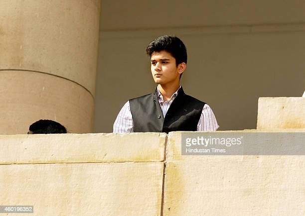 Mahanaryaman Scindia son of Congress Lok Sabha MP Jyotiraditya Scindia at Parliament House during the Parliament winter session on December 9 2014 in...
