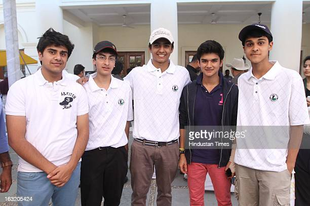 Mahanaryaman Scindia son of Jyotiraditya Scindia with his friends during Madhavrao Scindia Golf Tournament 2013 at DLF Country Club on March 3 2013...
