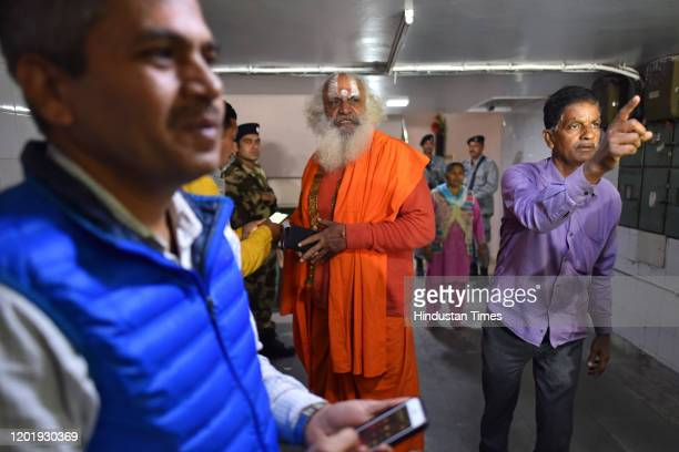 Mahant Dharam Das leaves after a meeting with other members of Sri Ram Janmabhoomi Teerth Kshetra, the trust setup to oversee construction of the Ram...