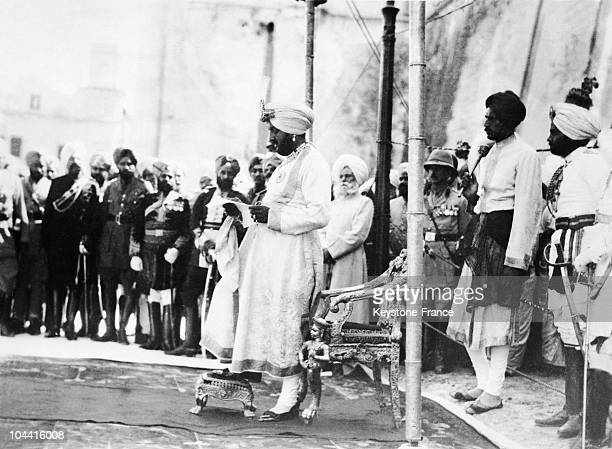 Maharadjadhiradja Bhupinder Singh the great King of Kings Maharaja of Patiala attends the opening of the festival Dasr in the state of Patiala India...