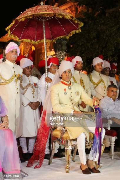 Maharaja of Royal family Padmanabh Singh participate in 'Holika Dehan' at City Palace on the occasion of Holi Festival in Jaipur Rajasthan India on...