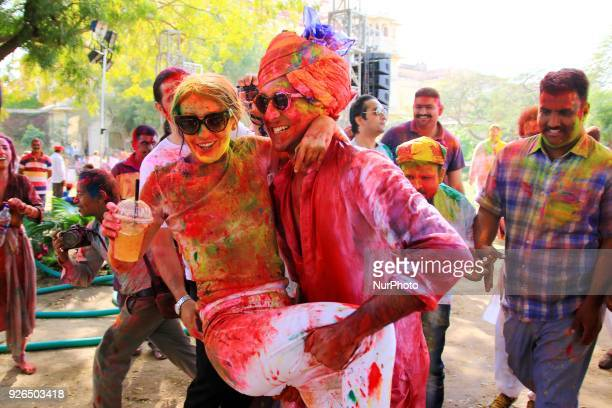 Maharaja of Royal Family Padmanabh Singh play with colors during Holi festival celebration at City Palace in JaipurRajasthan India on 2 March 2018
