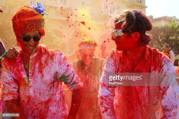 Maharaja of Royal Family Padmanabh Singh play with colors during Holi festival celebration at City Palace in Jaipur,Rajasthan, India on 2 March, 2018.