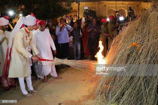 Maharaja of Royal family Padmanabh Singh torches a bonfire during 'Holika Dehan' at City Palace on the occasion of Holi Festival in Jaipur Rajasthan...