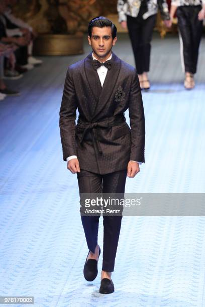 Maharaja Padmanabh Singh walks the runway at the Dolce Gabbana show during Milan Men's Fashion Week Spring/Summer 2019 on June 16 2018 in Milan Italy