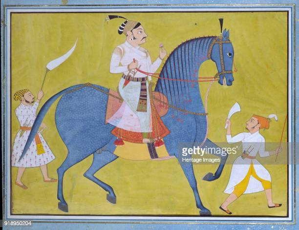 Maharaja Pratap Singh of Sawar riding with two attendants on foot circa 1700 Dimensions height x width x depth frame 692 x 867 x 22 cmheight x width...