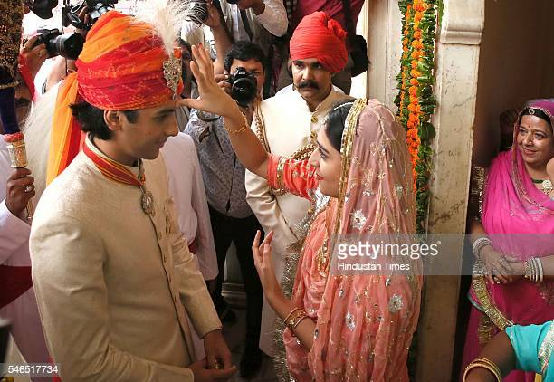 Maharaja Sawai Padmanabh Singh of the erstwhile royal family of Jaipur being greeted by his sister Gaurvi Kumari during his 18th birth anniversary...