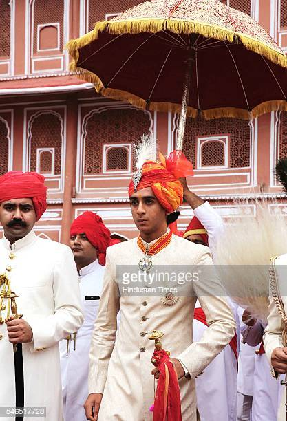 Maharaja Sawai Padmanabh Singh of the erstwhile royal family of Jaipur arrives for his 18th birth anniversary celebrations with traditional rituals...