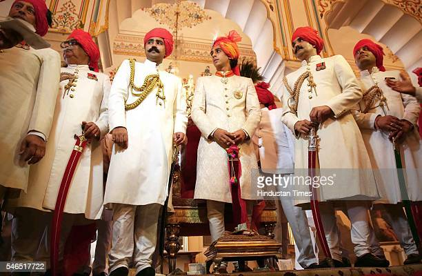 Maharaja Sawai Padmanabh Singh of the erstwhile royal family of Jaipur during his 18th birth anniversary celebrations with traditional rituals at the...