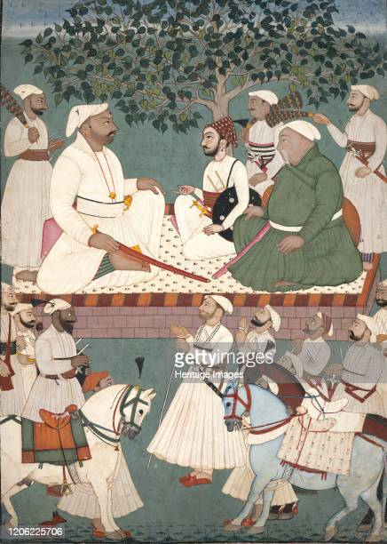 Maharaja Sidh Sen Receiving an Embassy, circa 1700-10. The subdues palette of grays, greens, and whites and the sophisticated drawing of this...