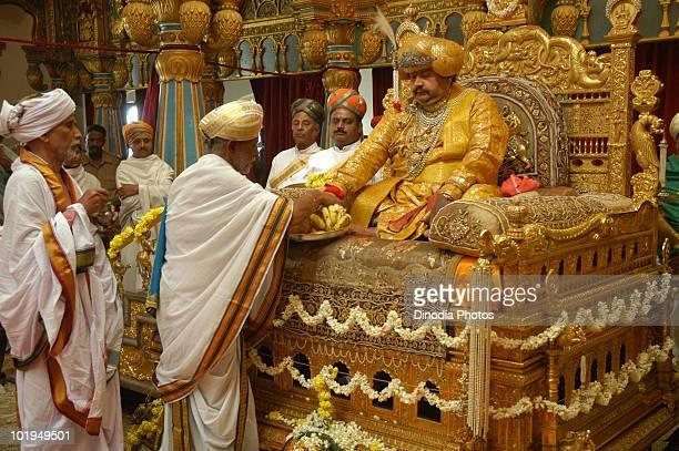 Maharaja Srikanta Datta Narasimharaja Wodeyar Bahadur of Mysore at the Mysore Dasara a Hindu festival in Mysore India circa 1995