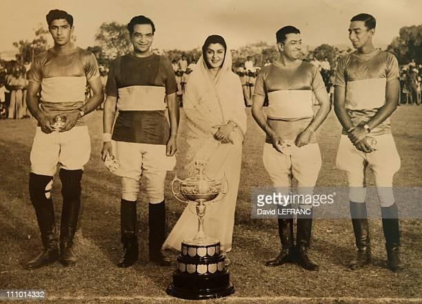 Maharani Gayatri Devi & Polo Team Polo tournament on the field of Rambagh Palace in Jaipur, India.