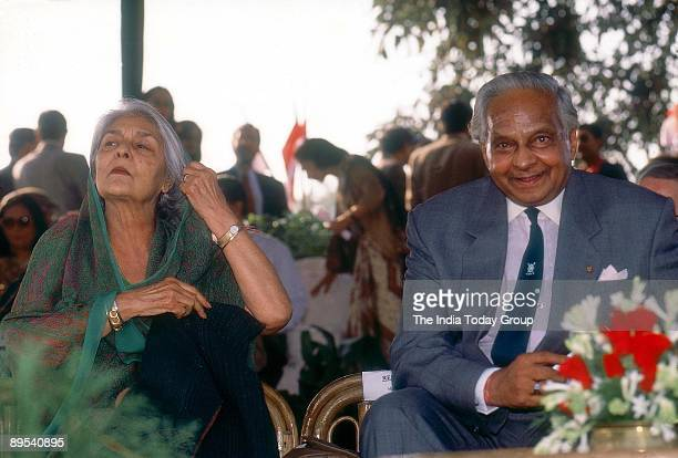 Maharani Gayatri Devi sits with Maharaja Sawai Bhawani Singh of Jaipur in a photo taken on November 23, 1998 in New Delhi, India.