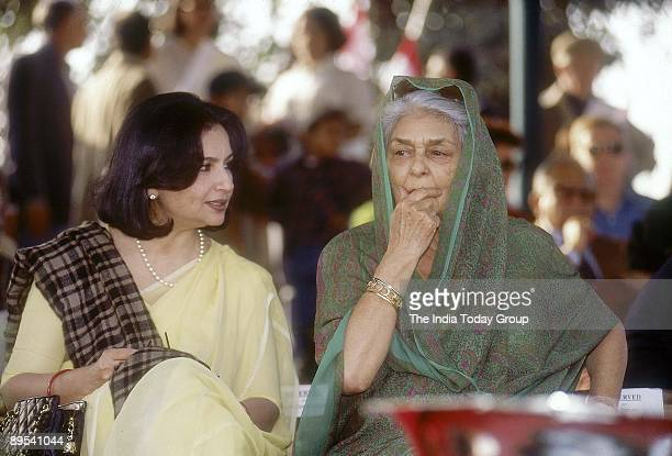 Maharani Gayatri Devi speaks with actress Sharmila Tagore during a function on November 23, 1998 in New Delhi, India.
